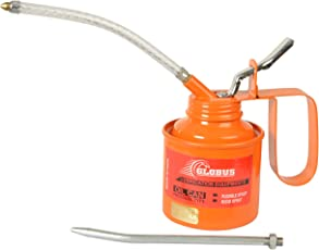 Globus Steel Oil Can 1/2 Pint With Fix and Flexible Spout, Orange