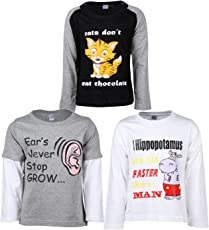 Goodway Pack of 3 Boys Full Sleeve Black+White+Gray T-Shirts DYK Theme-4