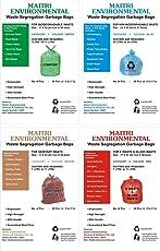 "4 COLOR WASTE SEGREGATION COMBO WET WASTE(17""X23""), DRY WASTE(20""X26""), SANITARY WASTE(17""X23"") AND E WASTE (17""X23"")GARBAGE BAGS QTY 172 PCS"
