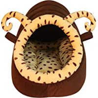 Mellifluous Bee Shape Dotted Dual Color Velvet Fabric/Hut for Dogs and Cat (Small, Beige-Brown)