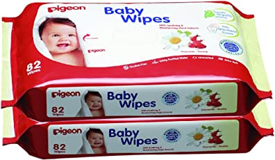 Pigeon Baby Wipes Refill, Cham and Rose, Red/White, 82 Pieces (Pack of 2)