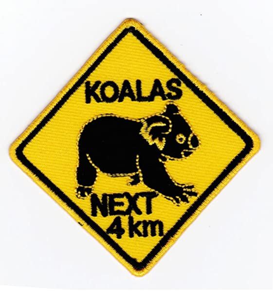 KOALAS NEXT 4 KM SIGN SYMBOL LOGO Embroidered Iron on Patch Free Postage