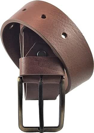 ELETTI Cintura Uomo VERA PELLE 100% MADE IN ITALY Marrone Nera Cucita H 3,5 Elegante Casual Resistente Regalo Taglia Unica Regolabile Lunghezza Max 120/130 Alta Qualità
