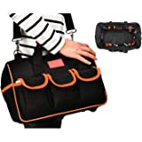 Tool Bag 3 Ways 12.5inch Wide Mouth Storage Tool Bags Molded Base Tools Bags 14 Pockets for 20-30kg