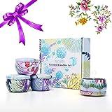 Tooarts Bougies parfumées Cadeau Bougies Bougies Jarre Jasmin Lavande Rose de Reine 100% en Cire de soja pour Rendre l…