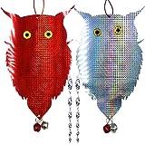 JHuuu Owl Bird Repellent Control Scare Device, 2021 Upgrade Bird Repellent Scare Bird Deterrent Holographic Reflective Woodpe