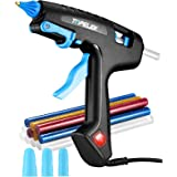 TOPELEK 100W Full-Size Hot Glue Gun with 12 Glue Sticks Transparent & Colored, 3 Finger Protector, Stable Support, Hot Melt G