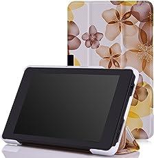 MoKo Fire HD 6 2014 Hülle - Ultra Lightweight Slim PU Leder Tasche Schutzhülle Schale Smart Shell Case mit Standfunktion für Amazon Kindle Fire HD 6 Zoll (4. Generation - 2014 Modell), Blumen-Gelb