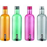 Nayasa Plastic Water Bottle, 1000ml, Set of 4, Multicolour