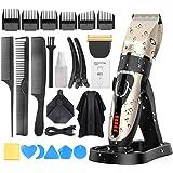 Hårklippare för män, Oudekay professionell sladdlös elektrisk hårklippningskit hårtrimmer med laddningsdocka-2 000 mAh litium