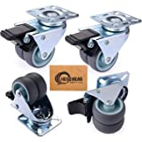 Herenear 4 stuks 50 mm zwenkwielen voor zware lasten dubbele wielen meubelwielen wielen voor meubels met rem draagkracht 600