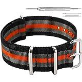 AUTULET 18mm 20mm 22mm 24mm Noir Rouge Bracelet De Montre en Nylon Militaire Nylon Bracelets Bandes Remplacements pour Hommes