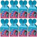 Cajas De Fiesta Bolsas de cumpleaños, 18Pcs Trolls Regalo Cajas, Cajas de Caramelo Tema Reutilizable Bolsas de Fiesta Bolsas