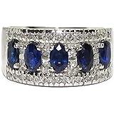 Never Say Never Larghezza e bellissimo anello in oro bianco 18 k con 5 zaffiri ovali da 1,45 ct e diamanti taglio brillante,