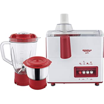 Maharaja Whiteline Gala JX-117 450-Watt Juicer Mixer Grinder with 2 Jars (White/Majestic Maroon)