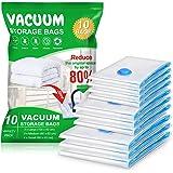 Vacwel 10 Pièces Sacs de Rangement sous Vide 3L (100 x 80 cm) + 3M (80 x 60 cm) + 4S (60 x 40 cm) Réutilisable pour Vêtements