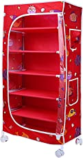 Little One's 6 Shelves Steel Structure Folding Wardrobe with Wheels – Aquatic Red