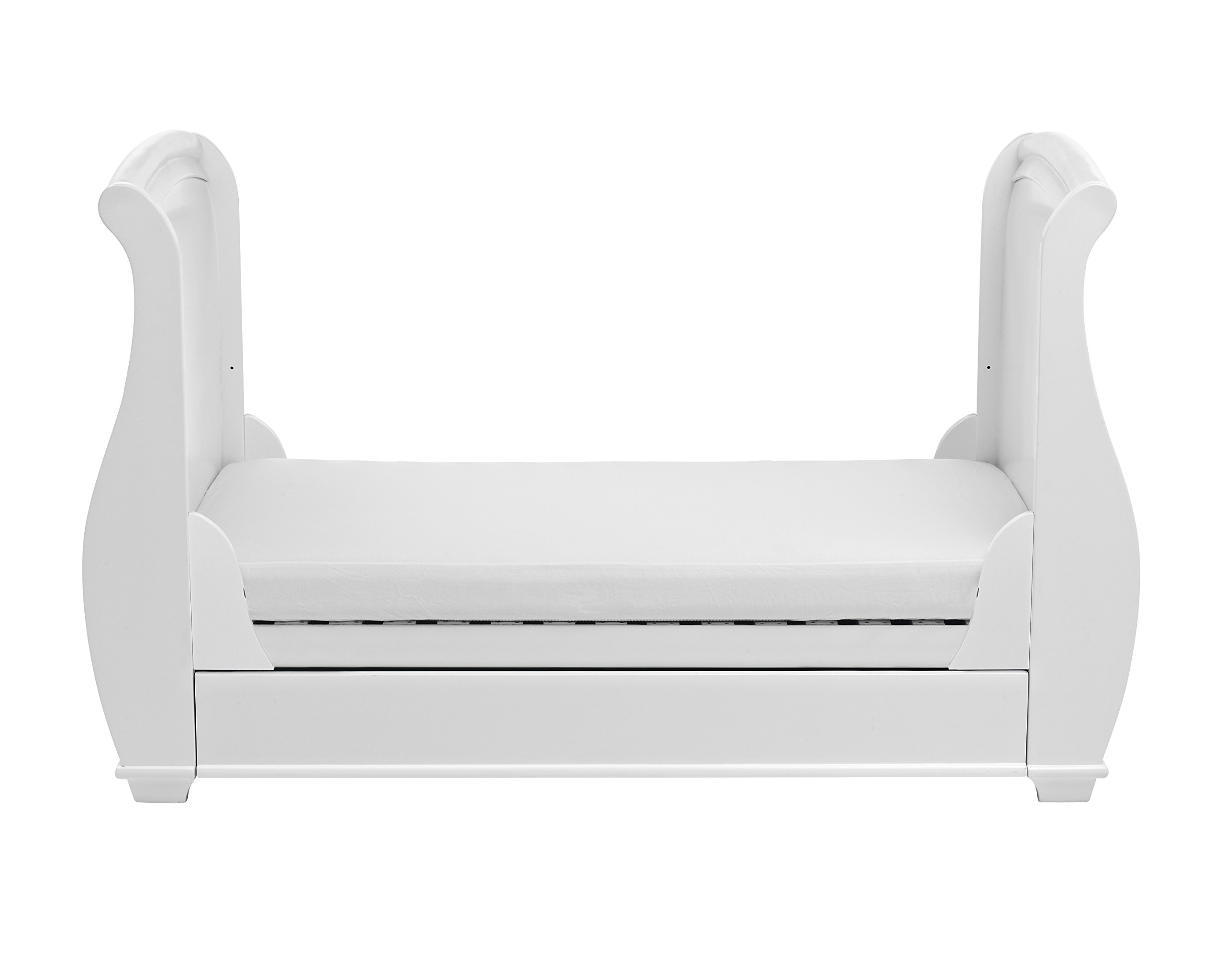 Babymore Bel Sleigh Cot Bed Dropside with Drawer (White)  Magnificent sleigh with appealing look of grandeur and solidity. Easily convert to junior bed/sofa/day bed, Meet British and European safety standards Single handed drop side mechanism allow easy access to your baby. 8