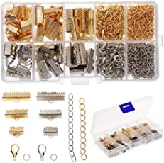HitTime DIY Crafts Jewelry Making Starter Kit Lobster Clasp Jump Rings Ribbon Crimp Findings Supplies