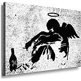 """Banksy Kunst auf Leinwand Bild fertig auf Keilrahmen ! Pop Art Gemälde Kunstdrucke, Wandbilder, Bilder zur Dekoration - Deko / Top 100 """"Banksy"""" Bilder - Graffiti / Street Art Kunstdrucke"""