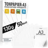 50 papier de construction BLANC 130g / m² PAPIER PREMIUM blanc pur - blanc neige - DIN A3-29,7 x 42 cm - papier d…