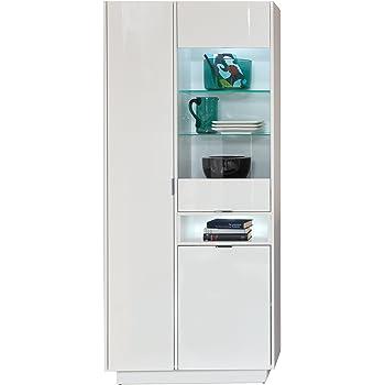 Schrank Grifflose öffnen Vitrine Wohnzimmer Highboard Weiß