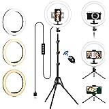 """Luce Led Anulare con Stativo Treppiede,12"""" LED Ring Light Dimmerabile Selfie Light Kit con 3 Modalità Colore e 10 Luminosità,"""