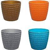 Go Hooked Plastic Flower Pot, Multicolour, 5.5 in, 4 Pieces