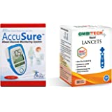 AccuSure Blue 50 Test Strips with AmbiTech 50 Round Lancets (NO GLUCOMETER)