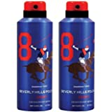 Beverly Hills Polo Club Men Deodorant No. 8- Pack Of 2 (175ml Each)