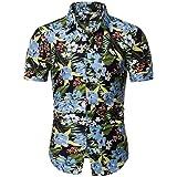 GRMO Men Floral Print Casual Short Sleeve Beach Button Down Dress Shirt Top