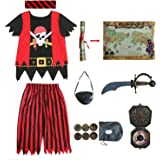 Aufrichtige Partei Piratenkostüm für Kinder, Piraten-Rollenspiel-Kits 8er Komplettset Größe 8-10 Jahre
