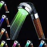 Amison - Alcachofa de ducha LED con cambio de color, ahorro de agua, con 7 colores, temperatura automática, alta presión, fil