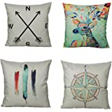 All Smiles Polyester Nordic Style Cotton Linen Pillow Cover Cushion Cover PiIlowcase 18 x 18 Inches,Deer,Elephant,Geometric,A