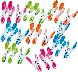 PEARL Wäscheklammer Kunststoff: Wäscheklammern mit Soft-Grip, 25 Stück, in 4 Farben (Wäschklammern)