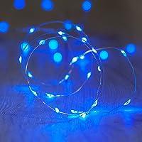 Lights4fun 20er LED Draht Micro Lichterkette blau Batteriebetrieb