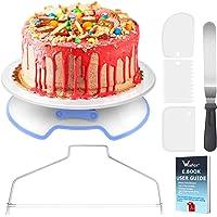 WisFox Plateau Tournant de Gâteau, Kit de Pâtisserie avec Serrure Inclure Gâteaux Tournant Spatule à Glaçage Coupe…