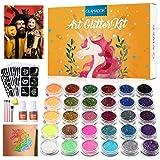 Kit de Tatuajes Temporales-GLAMADOR Brillo de Tatuaje 30 Colores, 145 Únicas Plantillas,4 Pinceles-Impermeable,No Tóxico para