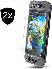 UTECTION 2X Nintendo Switch 2017 Panzerglas Schutzfolie 9H ** Dünner Displayschutz aus Glas ** Blasenfreies Anbringen ** Passgenaue Panzerglasfolie ** Displayschutzfolie by 2 Stück Durchsichtig