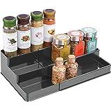 mDesign étagère à épices design – présentoir à épices extensible en plastique pour comptoir & armoire de cuisine – rangement