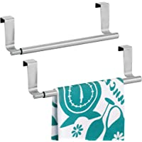 mDesign Pack of 2 Decorative Kitchen Over Cabinet Expandable Towel Bars – Hang on Inside or Outside of Doors, for Hand…