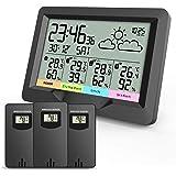 Oule GmbH Draadloos weerstation inclusief 3 x buitensensoren, thermometer, hygrometer, buitensensoren, meet binnen- en buiten
