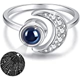 Moon Ring, 925 Sterling Silver Crescent Moon Ring Adjustable Rings for Women
