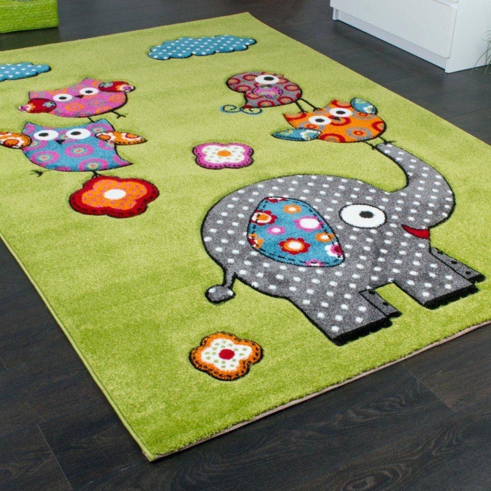 Kinderzimmer Teppich Niedliche Bunte Tierwelt Eule Elefant In Grün Blau  Grau Rot, Grösse:120x170 Cm: Amazon.de: Küche U0026 Haushalt