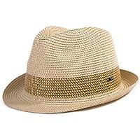 Comhats Summer Panama Fedora Trilby - Cappello da sole in paglia per uomo Safari Beach Hat - pieghevole 16010_Beige XL