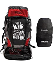 Mufubu Presents Get Unbarred 55 LTR Rucksack for Trekking, Hiking with Shoe Compartment and Waterproof Rain Cover (Black/Red)