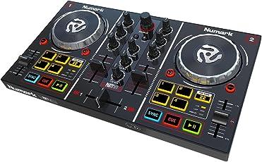 Numark Party Mix Consolle da DJ a 2 Deck, MIDI, USB, Proiezione Luci Colorate, Interfaccia Audio, Completa di Effetti