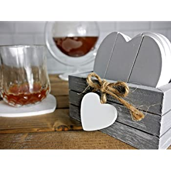 Provence Set Of 6 Fleur De Lys Heart Coasters
