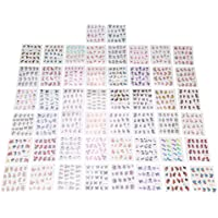 GOTOTOP 50 Sheets Nail Art Transfer Stickers 3D Flower Design Manicure Tips Decal Decor