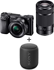 Sony Alpha ILCE-6000Y 24.3MP Digital SLR Camera (Black) with 16-50mm and 55-210mm Lens and with Free Sony XB10 Bluetooth Speaker
